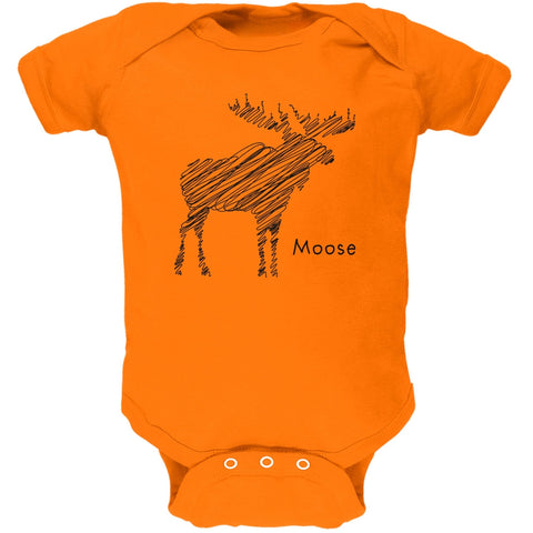 Moose Scribble Drawing Orange Soft Baby One Piece