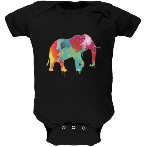 Splatter Elephant Black Soft Baby One Piece