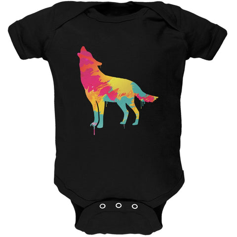Splatter Wolf Black Soft Baby One Piece