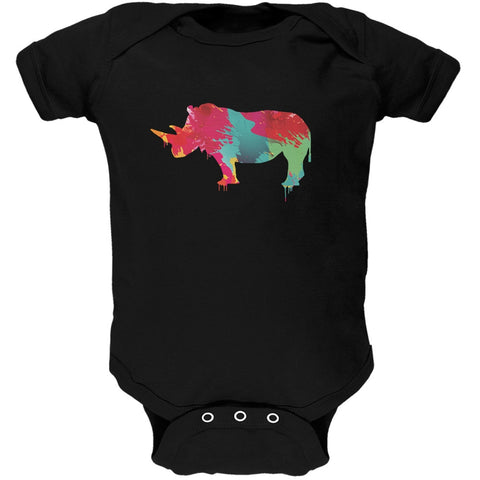 Splatter Rhino Black Soft Baby One Piece