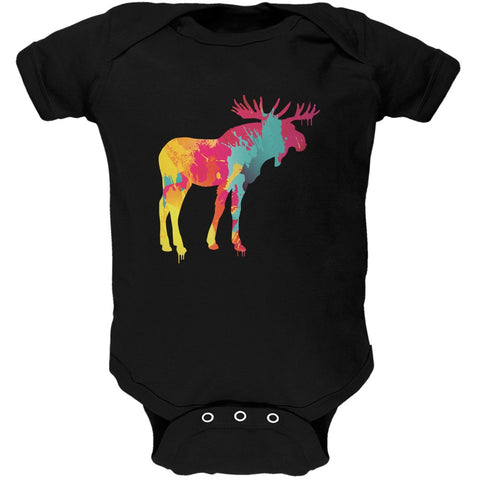 Splatter Moose Black Soft Baby One Piece
