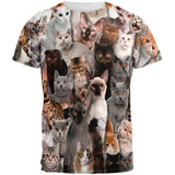 Crazy Cat All Over Adult T-Shirt