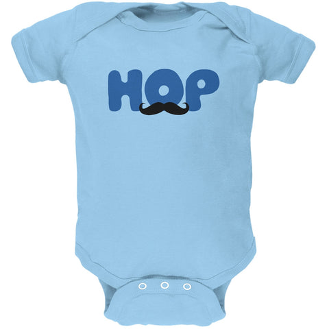 Easter - Hop Boys Mustache Light Blue Soft Baby One Piece
