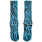 Zebra Print Blue All Over Crew Socks