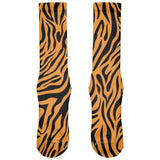 Zebra Print Orange All Over Crew Socks