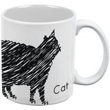 Cat Scribble Drawing White All Over Coffee Mug