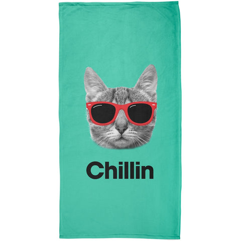 Chillin Cat All Over Plush Beach Towel