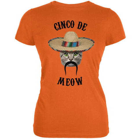 Funny Cat Cinco de Mayo Meow Orange Juniors Soft T-Shirt