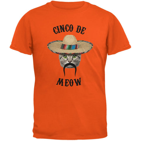 Funny Cat Cinco de Mayo Meow Orange Youth T-Shirt
