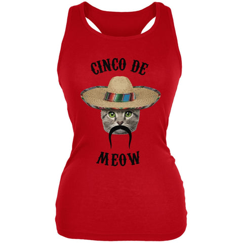 Funny Cat Cinco de Mayo Meow Red Juniors Soft Tank Top