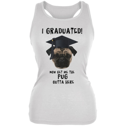 Graduation - Get The Pug Out Grad White Juniors Soft Tank Top