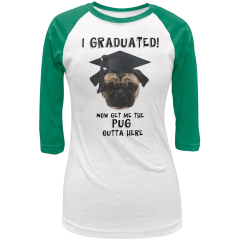 Graduation - Get The Pug Out Grad White/Kelly Green Juniors 3/4 Raglan T-Shirt
