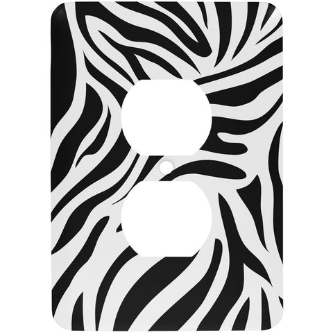 Zebra Print White Outlet Cover