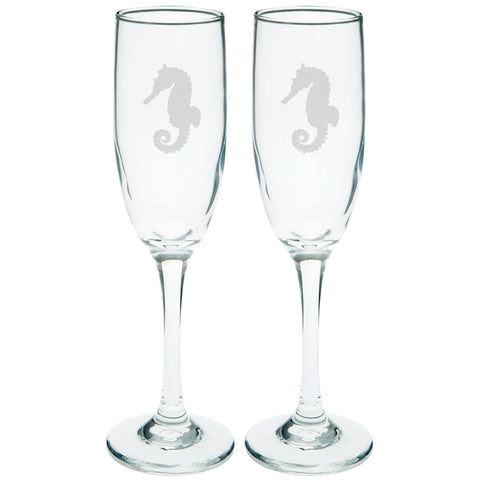 Seahorse Etched Champagne Glass Set