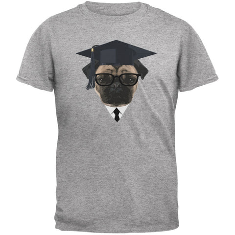 Graduation - Graduate Pug Funny Heather Grey Adult T-Shirt