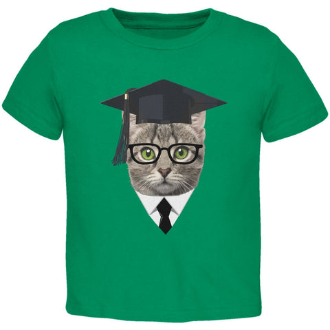 Graduation Funny Cat Kelly Green Toddler T-Shirt