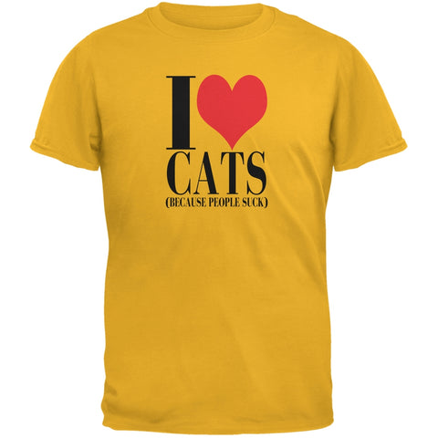 Love Cats People Suck Gold Adult T-Shirt