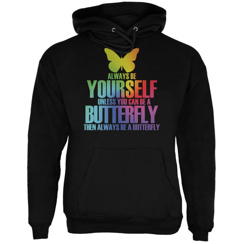 Always Be Yourself Butterfly Black Adult Hoodie