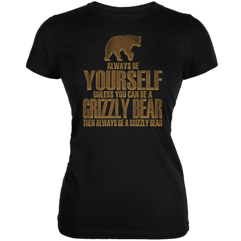 Always Be Yourself Bear Black Juniors Soft T-Shirt