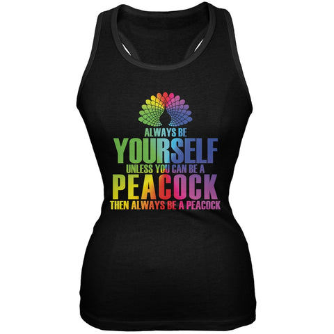 Always Be Yourself Peacock Black Juniors Soft Tank Top