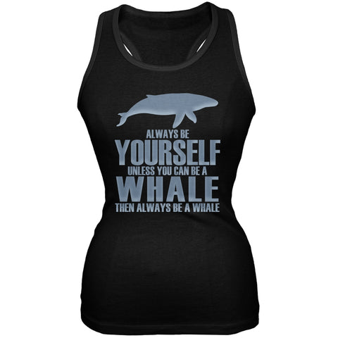 Always Be Yourself Whale Black Juniors Soft Tank Top