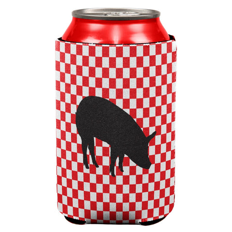 Country Kitchen Checkerboard Pig Can Cooler