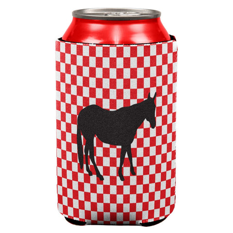 Country Kitchen Checkerboard Horse Can Cooler