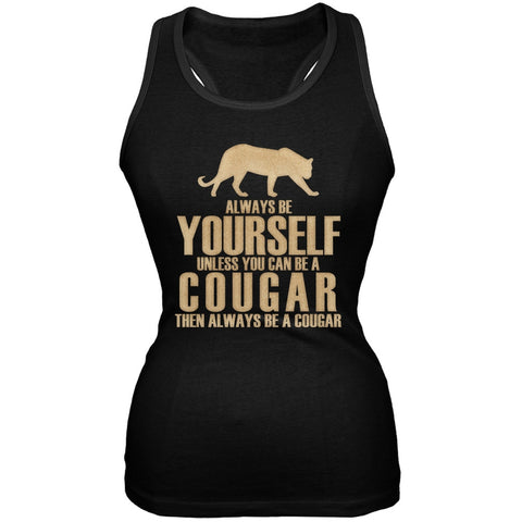 Always Be Yourself Cougar Black Juniors Soft Tank Top