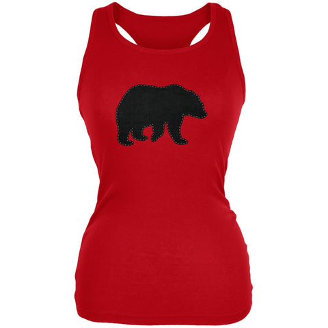 Bear Faux Stitched Red Juniors Soft Tank Top