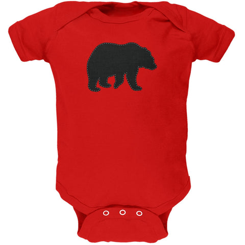 Bear Faux Stitched Red Soft Baby One Piece