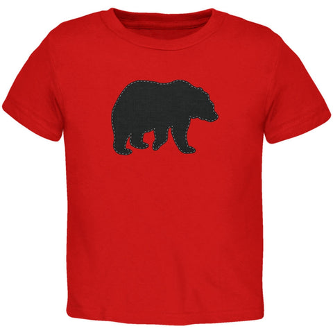 Bear Faux Stitched Red Toddler T-Shirt