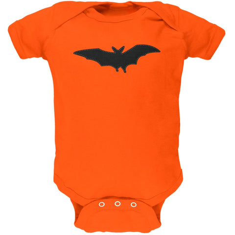 Halloween - Bat Faux Stitched Orange Soft Baby One Piece