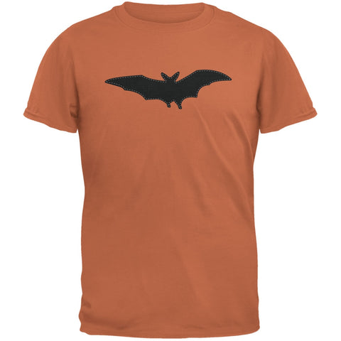 Halloween - Bat Faux Stitched Texas Orange Adult T-Shirt