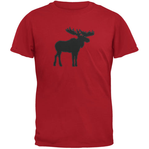 Moose Faux Stitched Red Adult T-Shirt