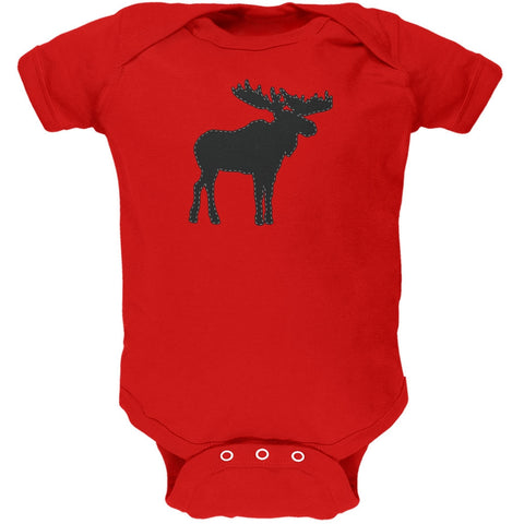 Moose Faux Stitched Red Soft Baby One Piece