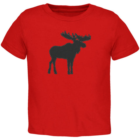 Moose Faux Stitched Red Toddler T-Shirt