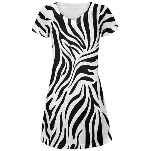 Zebra Print White All Over Juniors V-Neck Dress