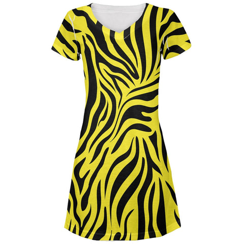 Zebra Print Yellow All Over Juniors V-Neck Dress