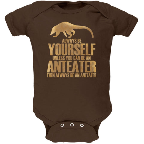 Always Be Yourself Anteater Brown Soft Baby One Piece