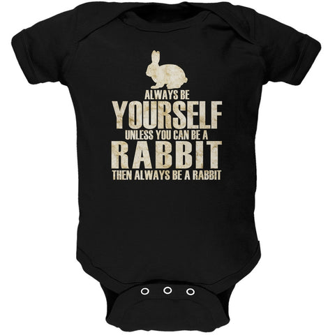 Always Be Yourself Rabbit Black Soft Baby One Piece