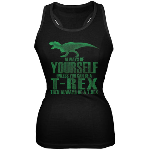 Jurassic - Always Be Yourself T-Rex Black Juniors Soft Tank Top