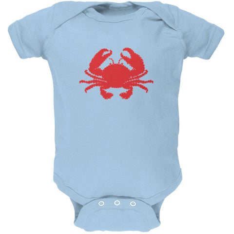 Summer - Crab Faux Stitched Light Blue Soft Baby One Piece