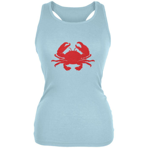 Summer - Crab Faux Stitched Juniors Soft Tank Top