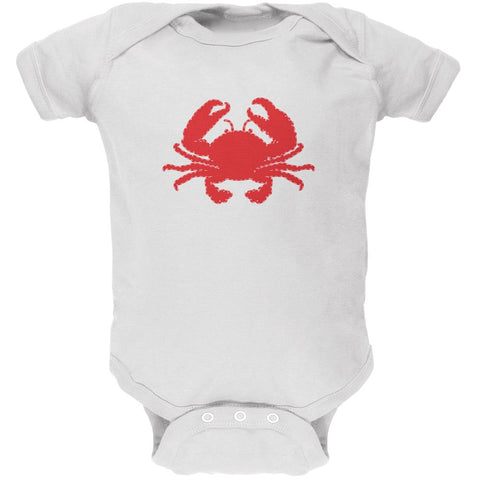 Summer - Crab Faux Stitched White Soft Baby One Piece