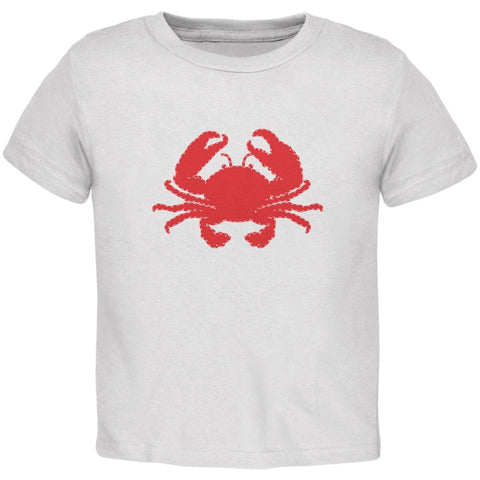 Summer - Crab Faux Stitched White Toddler T-Shirt