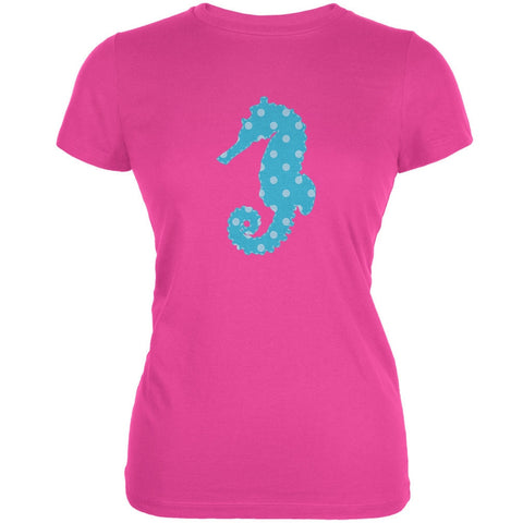 Summer - Seahorse Faux Stitched Hot Pink Juniors Soft T-Shirt