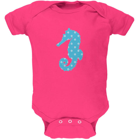 Summer - Seahorse Faux Stitched Hot Pink Soft Baby One Piece