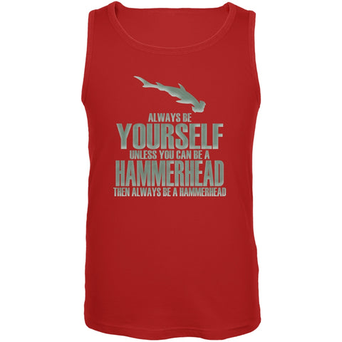 Always Be Yourself Hammerhead Shark Red Adult Tank Top