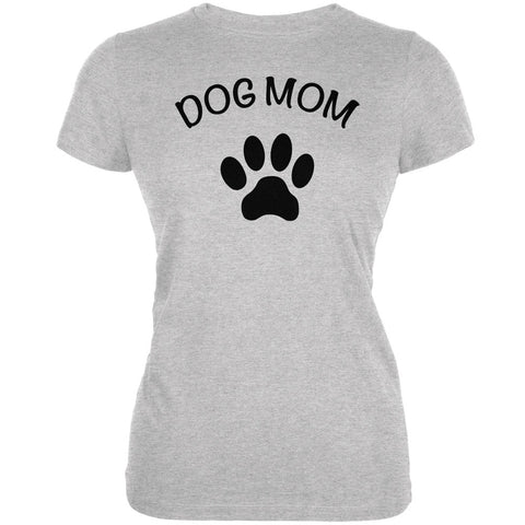 Mother's Day - Dog Mom Heather Grey Juniors Soft T-Shirt