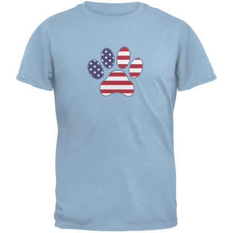 4th of July Patriotic Dog Paw Light Blue Adult T-Shirt